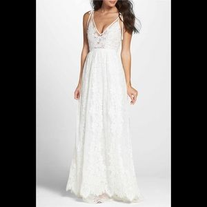Heartloom charlie tie shoulder lace wedding gown